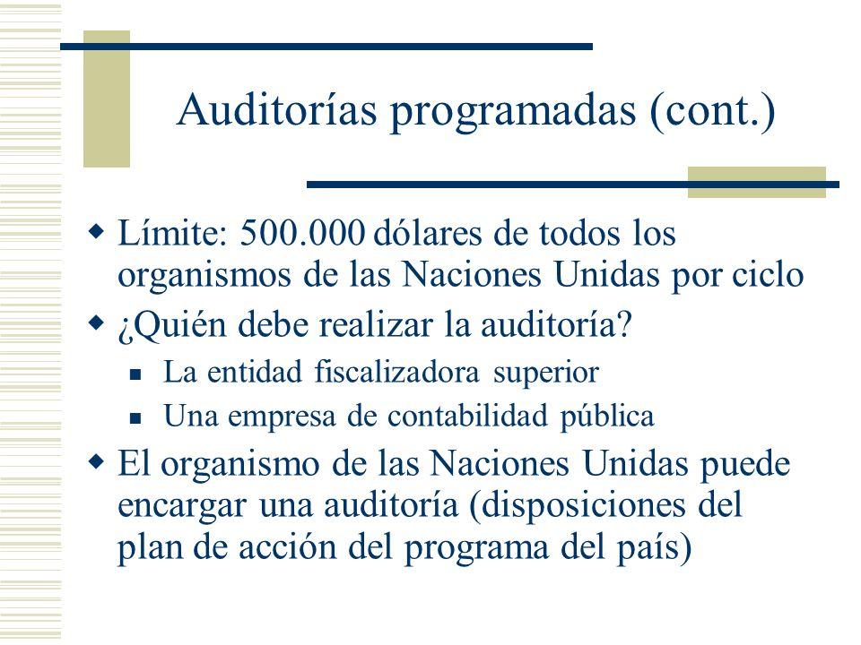 Auditorías programadas (cont.)
