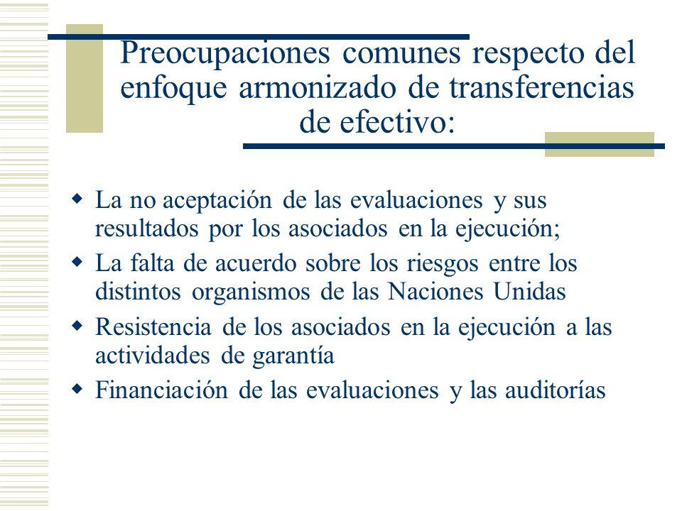 Preocupaciones comunes respecto del enfoque armonizado de transferencias de efectivo: