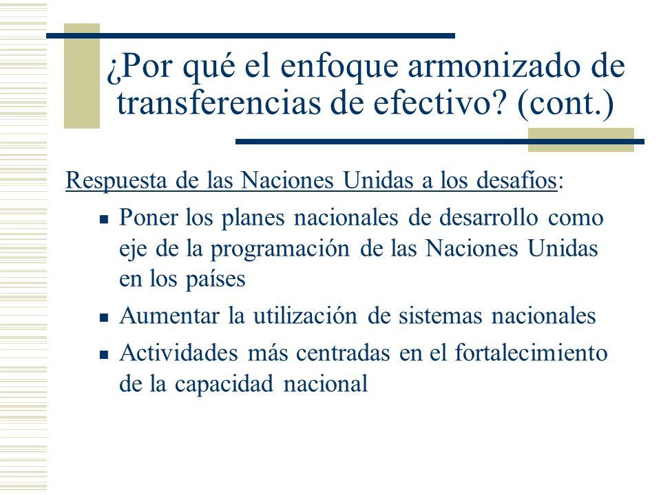 ¿Por qué el enfoque armonizado de transferencias de efectivo (cont.)
