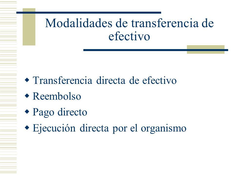 Modalidades de transferencia de efectivo
