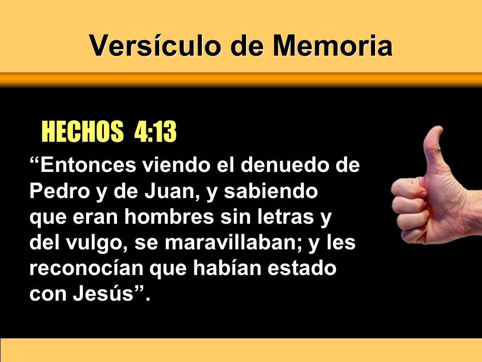 Versículo de Memoria HECHOS 4:13