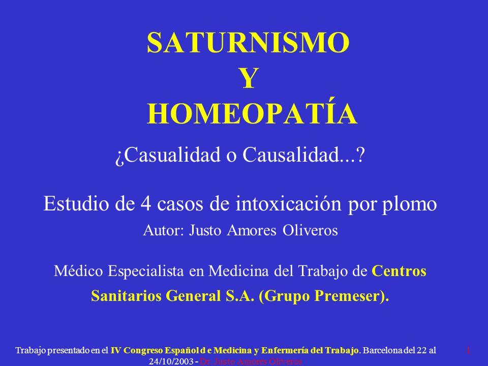 SATURNISMO Y HOMEOPATÍA