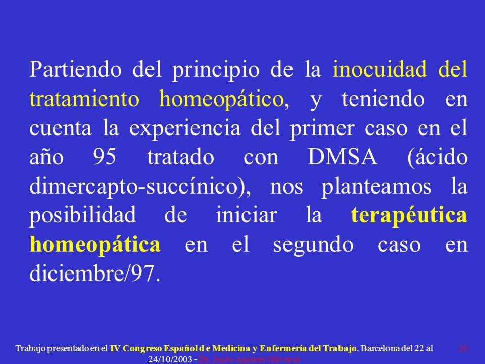 Partiendo del principio de la inocuidad del tratamiento homeopático, y teniendo en cuenta la experiencia del primer caso en el año 95 tratado con DMSA (ácido dimercapto-succínico), nos planteamos la posibilidad de iniciar la terapéutica homeopática en el segundo caso en diciembre/97.