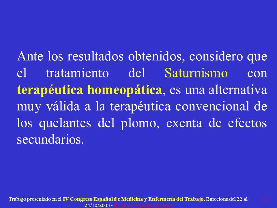 Ante los resultados obtenidos, considero que el tratamiento del Saturnismo con terapéutica homeopática, es una alternativa muy válida a la terapéutica convencional de los quelantes del plomo, exenta de efectos secundarios.