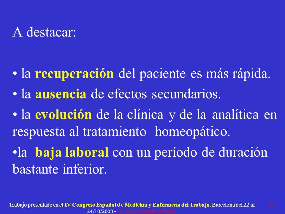 la recuperación del paciente es más rápida.