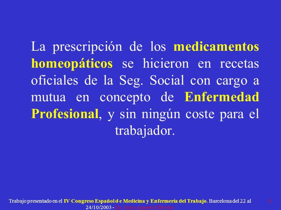 La prescripción de los medicamentos homeopáticos se hicieron en recetas oficiales de la Seg. Social con cargo a mutua en concepto de Enfermedad Profesional, y sin ningún coste para el trabajador.