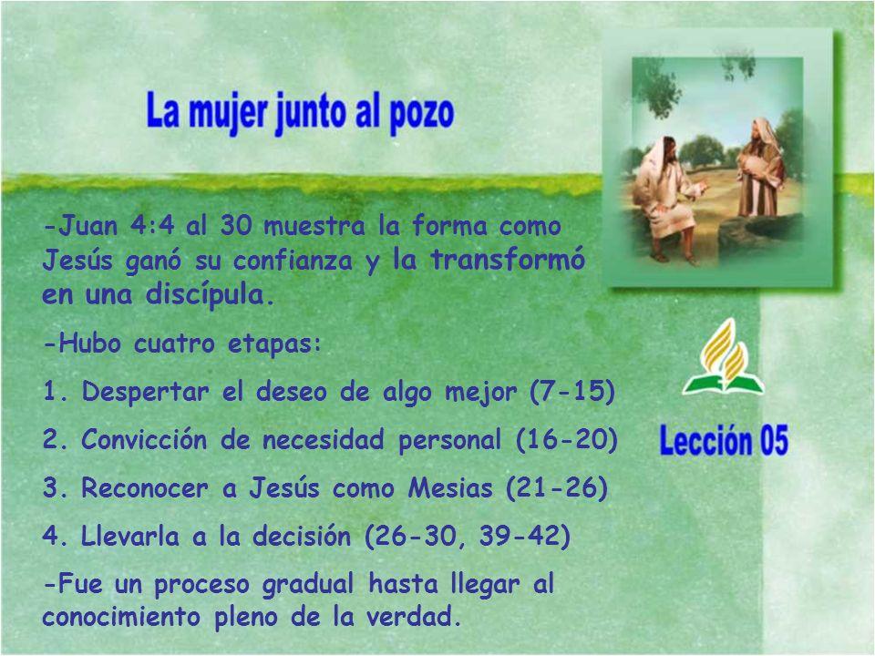 -Juan 4:4 al 30 muestra la forma como Jesús ganó su confianza y la transformó en una discípula.
