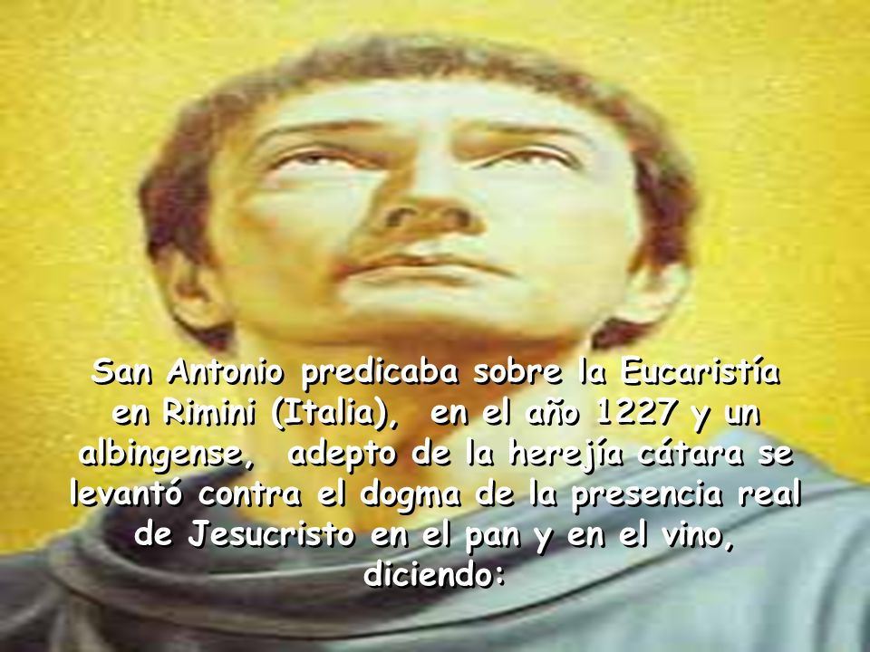 San Antonio predicaba sobre la Eucaristía en Rimini (Italia), en el año 1227 y un albingense, adepto de la herejía cátara se levantó contra el dogma de la presencia real de Jesucristo en el pan y en el vino, diciendo: