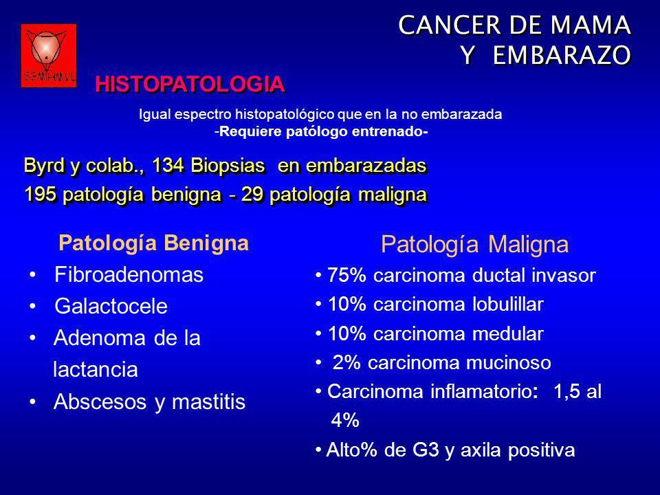 CANCER DE MAMA Y EMBARAZO Patología Maligna HISTOPATOLOGIA