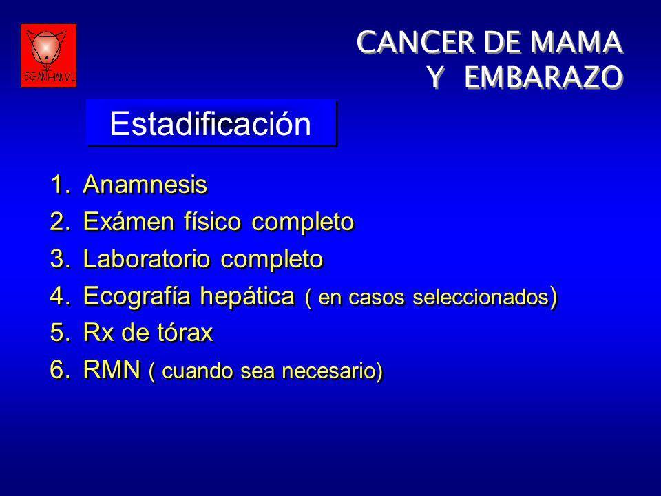 Estadificación CANCER DE MAMA Y EMBARAZO Anamnesis