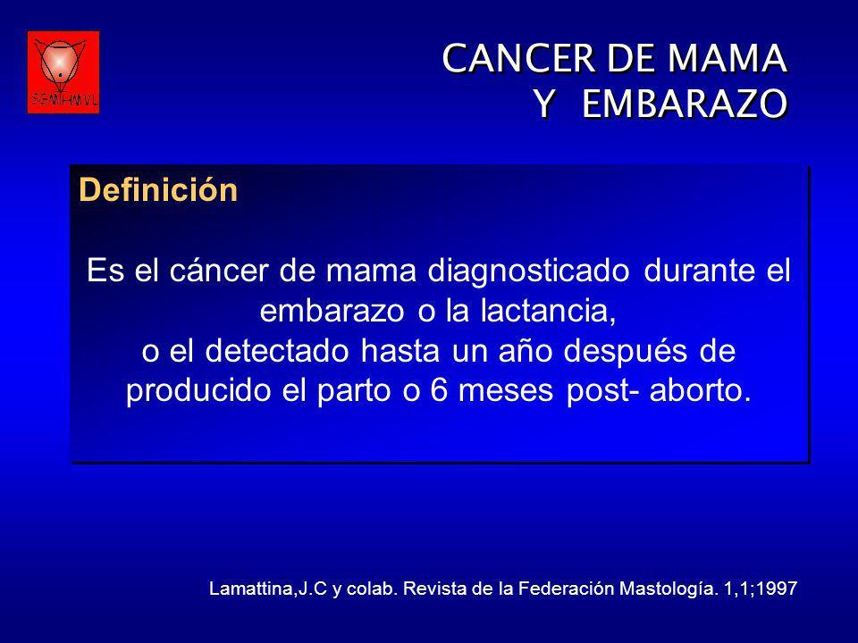 Es el cáncer de mama diagnosticado durante el embarazo o la lactancia,