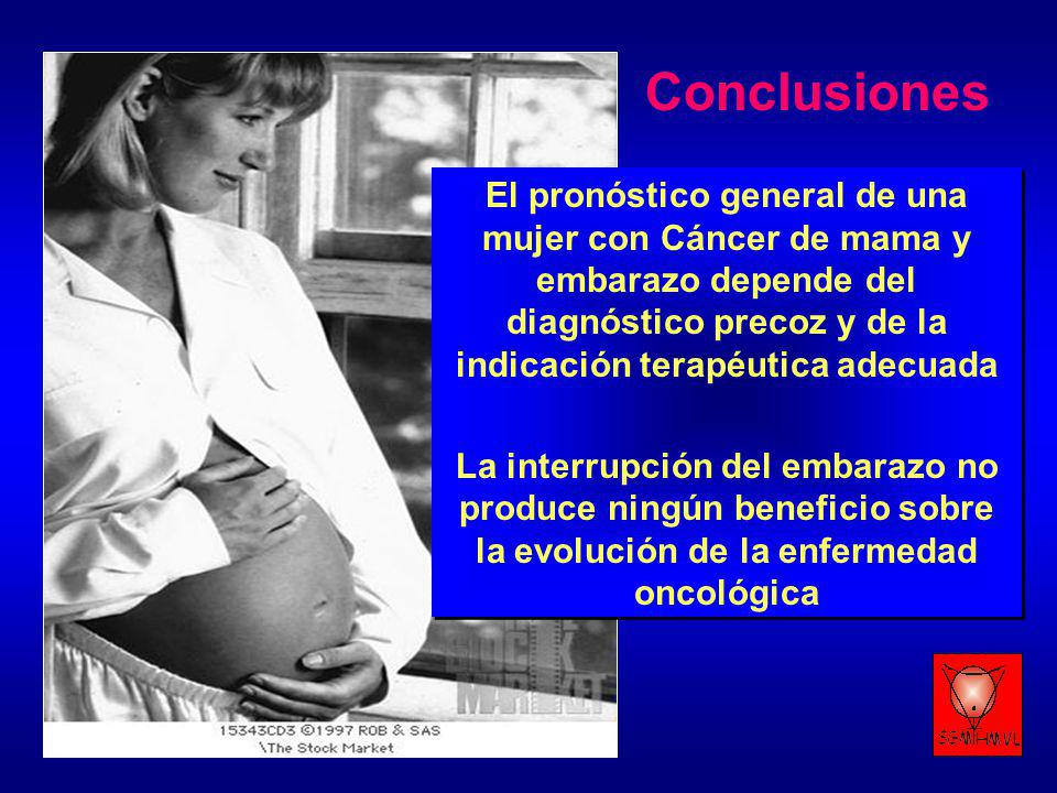 Conclusiones El pronóstico general de una mujer con Cáncer de mama y embarazo depende del diagnóstico precoz y de la indicación terapéutica adecuada.