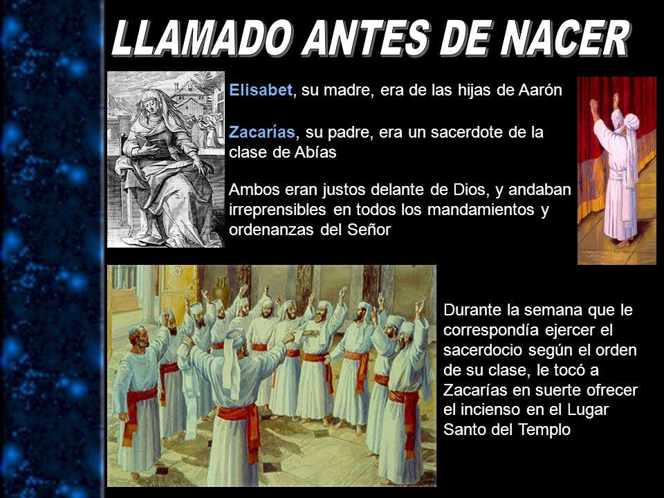 LLAMADO ANTES DE NACER Elisabet, su madre, era de las hijas de Aarón
