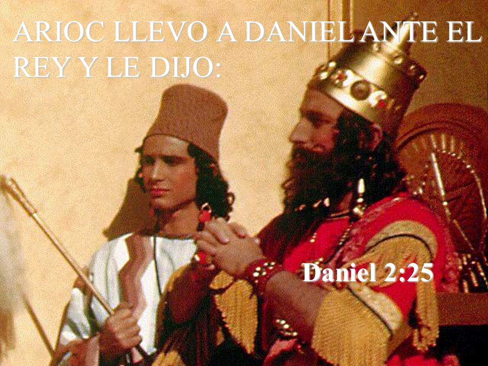 ARIOC LLEVO A DANIEL ANTE EL REY Y LE DIJO:
