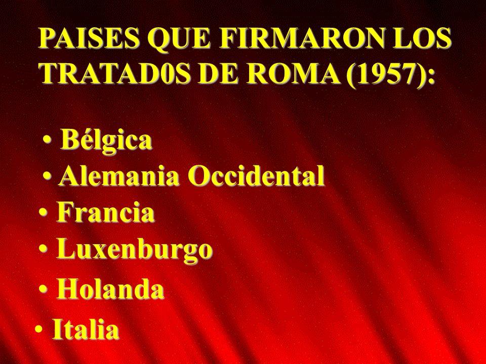 PAISES QUE FIRMARON LOS TRATAD0S DE ROMA (1957):