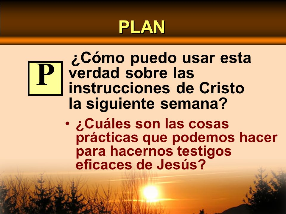 PLAN ¿Cómo puedo usar esta verdad sobre las instrucciones de Cristo la siguiente semana P.
