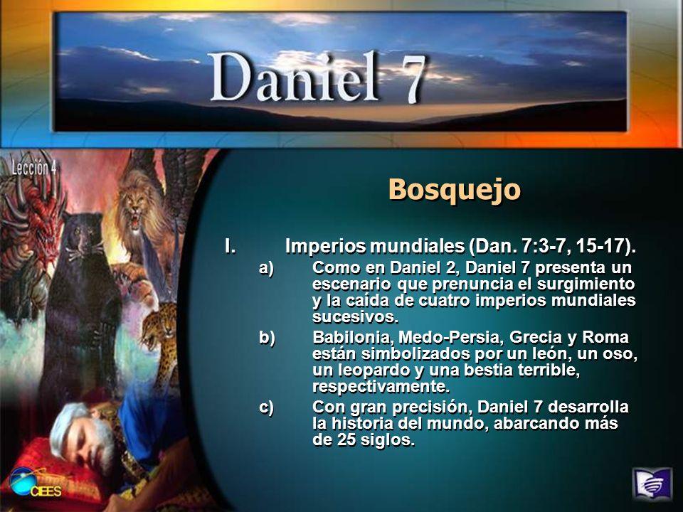 Bosquejo Imperios mundiales (Dan. 7:3-7, 15-17).