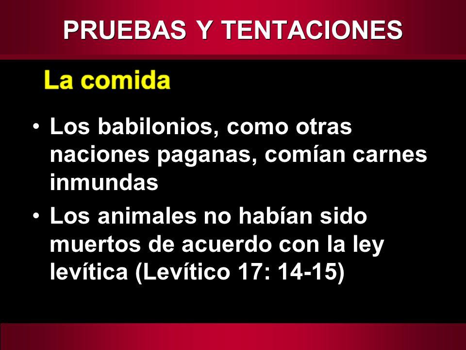 PRUEBAS Y TENTACIONES Los babilonios, como otras naciones paganas, comían carnes inmundas.