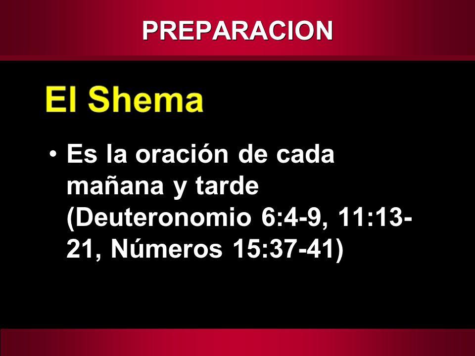PREPARACION Es la oración de cada mañana y tarde (Deuteronomio 6:4-9, 11:13-21, Números 15:37-41)