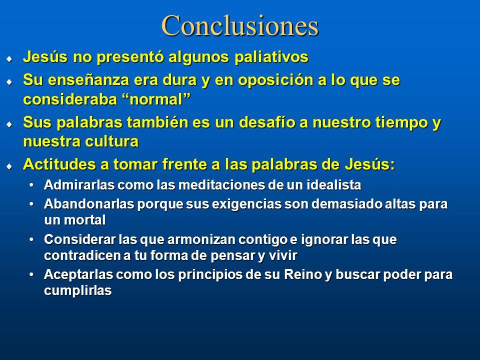 Conclusiones Jesús no presentó algunos paliativos