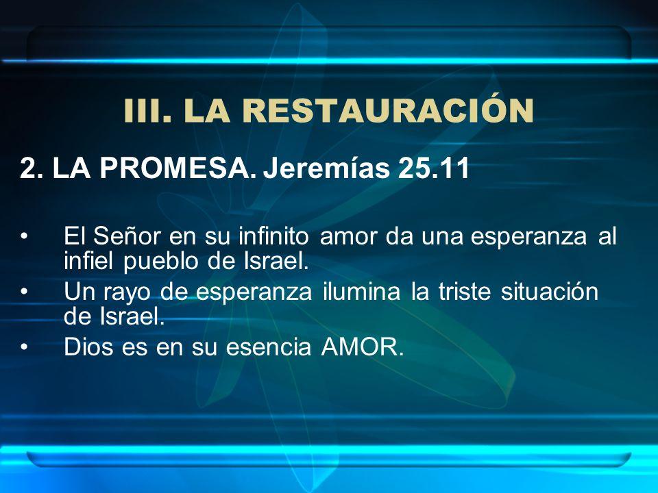 III. LA RESTAURACIÓN 2. LA PROMESA. Jeremías 25.11