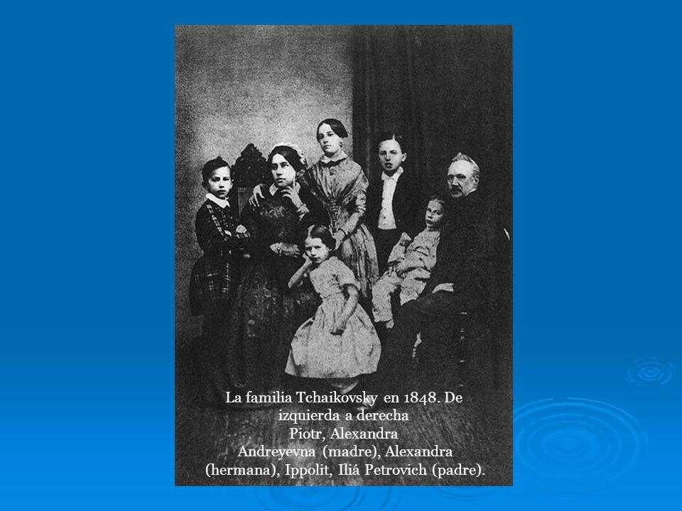 La familia Tchaikovsky en 1848. De izquierda a derecha