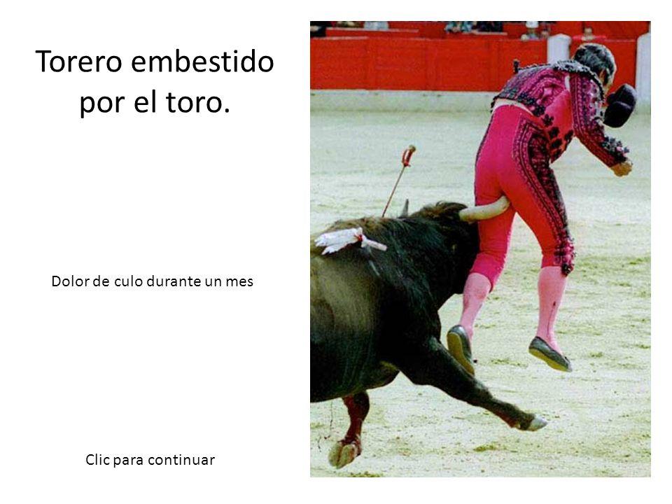 Torero embestido por el toro.