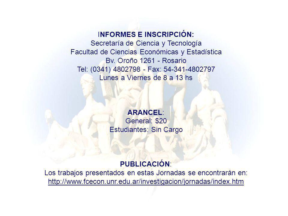 INFORMES E INSCRIPCIÓN: Secretaría de Ciencia y Tecnología