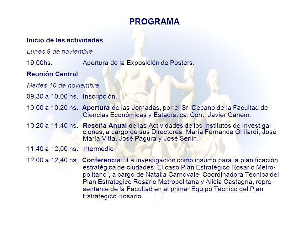 PROGRAMA Inicio de las actividades Lunes 9 de noviembre