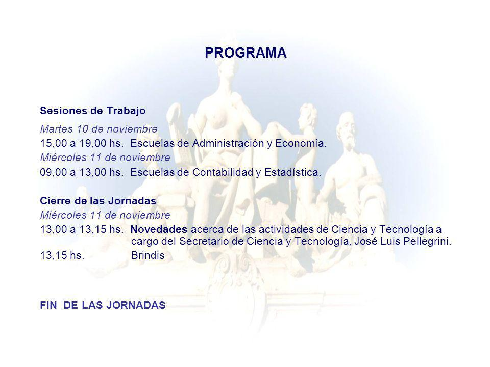 PROGRAMA Sesiones de Trabajo Martes 10 de noviembre