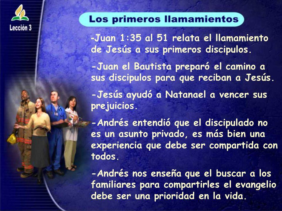 -Juan 1:35 al 51 relata el llamamiento de Jesús a sus primeros discipulos.