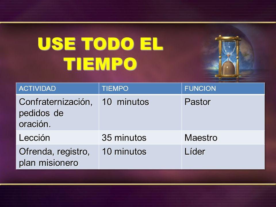 USE TODO EL TIEMPO Confraternización, pedidos de oración. 10 minutos