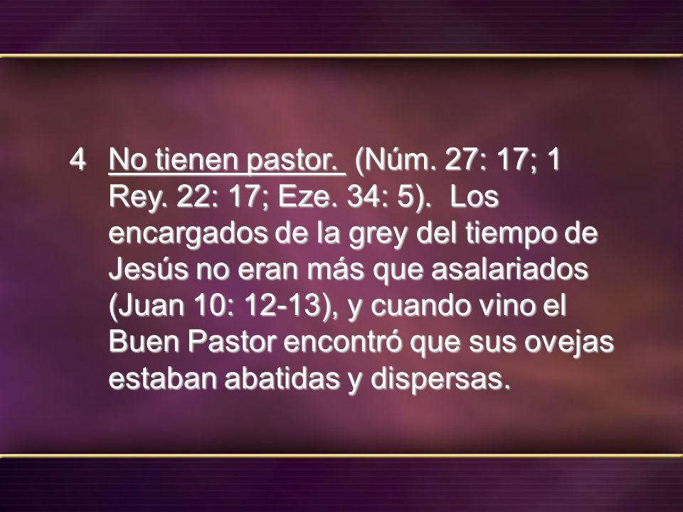 No tienen pastor. (Núm. 27: 17; 1 Rey. 22: 17; Eze. 34: 5)
