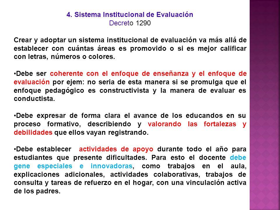 4. Sistema Institucional de Evaluación