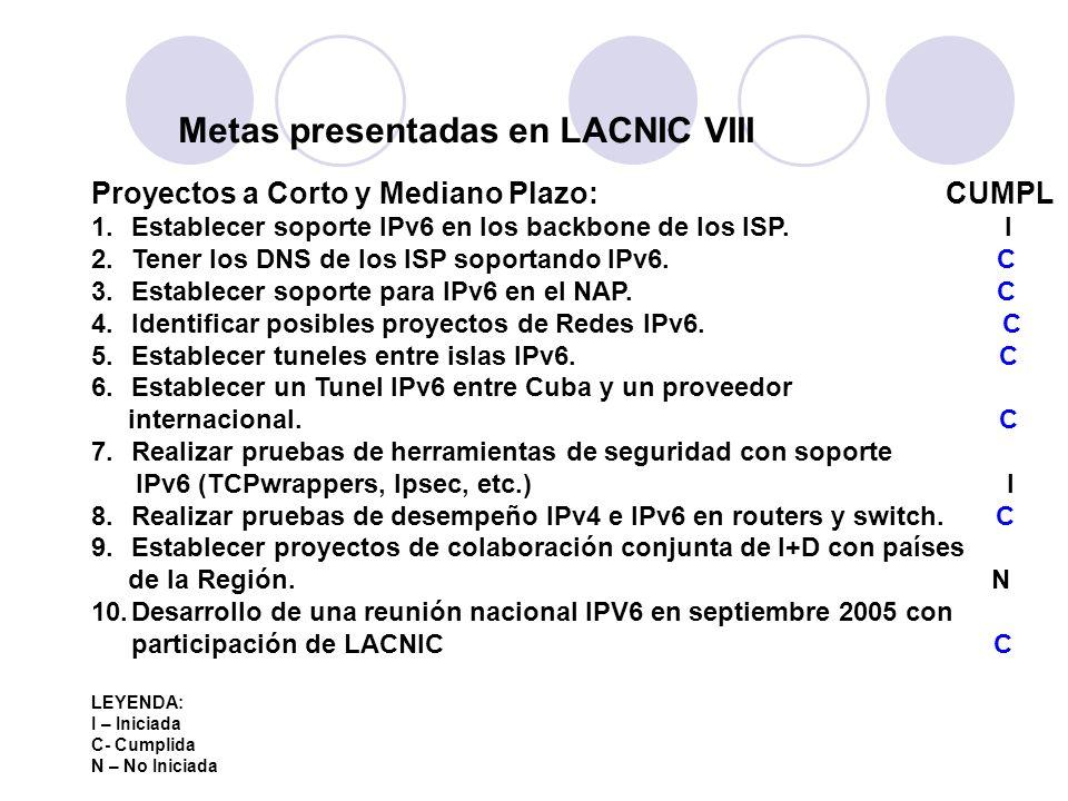 Metas presentadas en LACNIC VIII