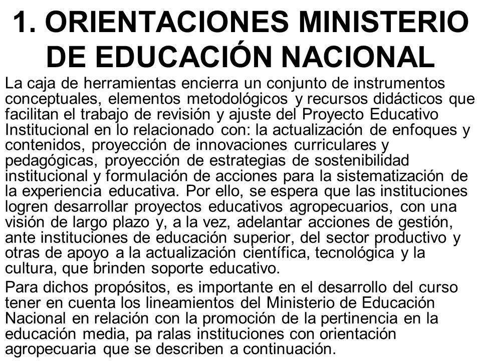1. ORIENTACIONES MINISTERIO DE EDUCACIÓN NACIONAL