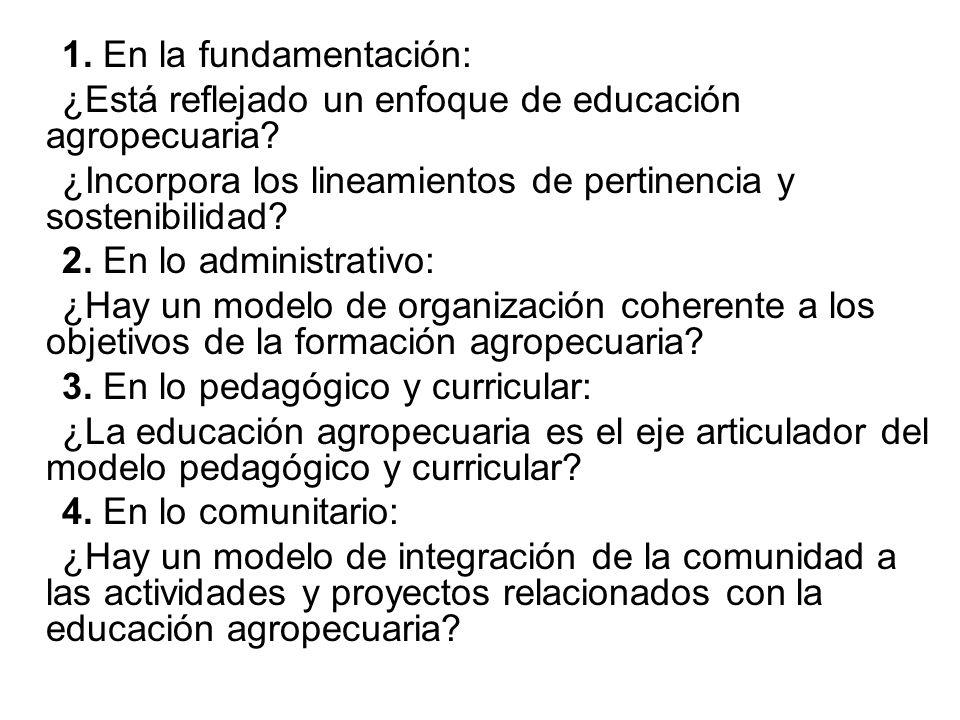 1. En la fundamentación: ¿Está reflejado un enfoque de educación agropecuaria ¿Incorpora los lineamientos de pertinencia y sostenibilidad