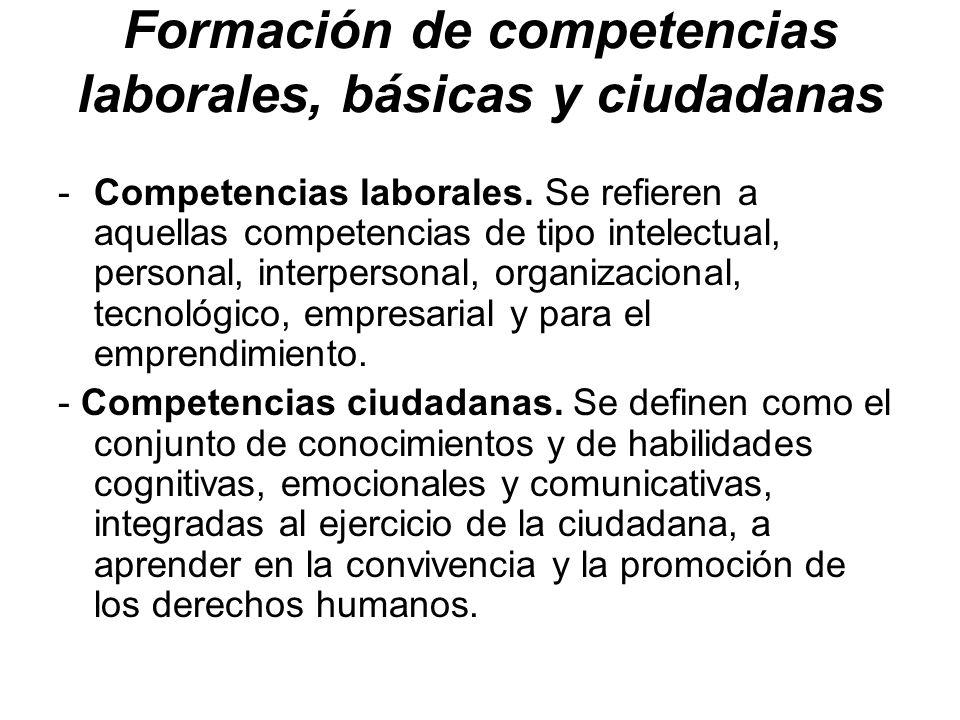 Formación de competencias laborales, básicas y ciudadanas
