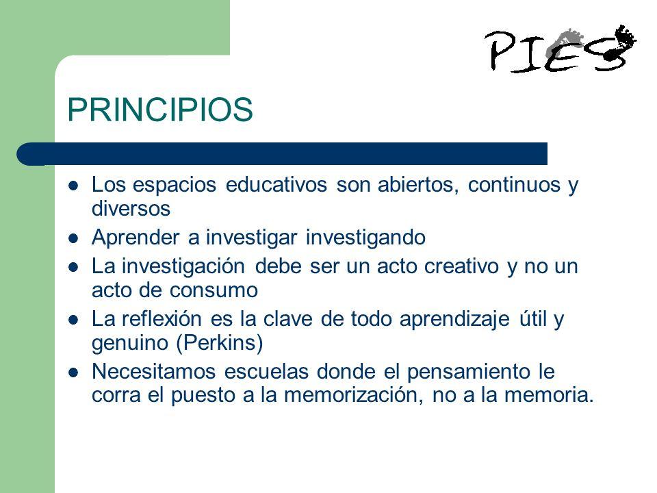 PRINCIPIOS Los espacios educativos son abiertos, continuos y diversos