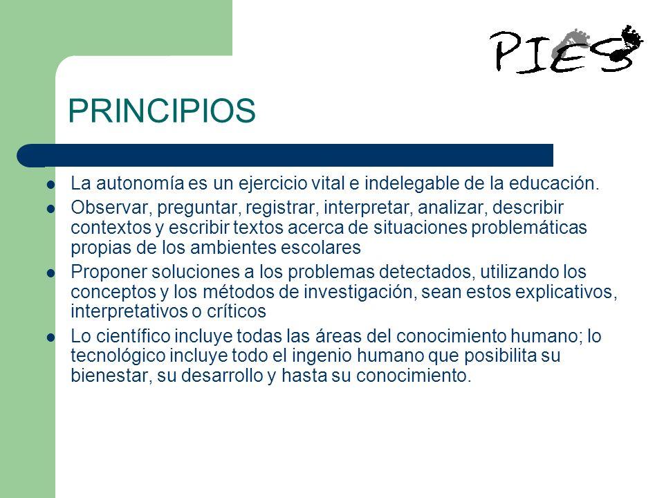 PRINCIPIOS La autonomía es un ejercicio vital e indelegable de la educación.