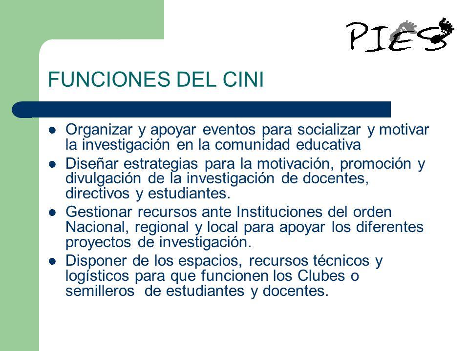 FUNCIONES DEL CINI Organizar y apoyar eventos para socializar y motivar la investigación en la comunidad educativa.