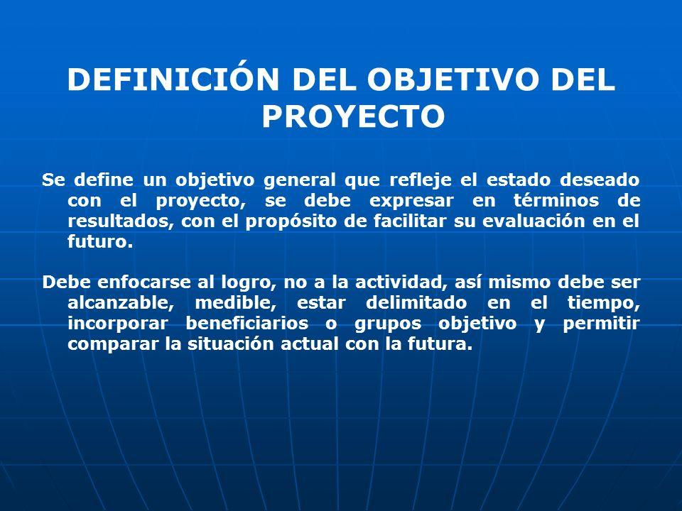 DEFINICIÓN DEL OBJETIVO DEL PROYECTO
