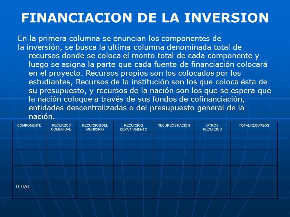 FINANCIACION DE LA INVERSION