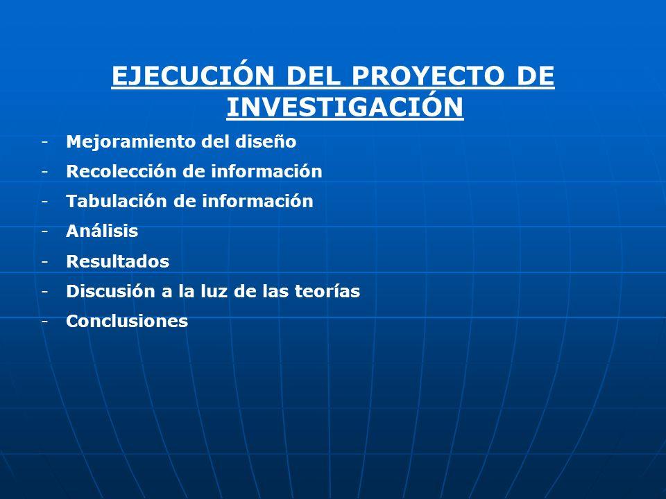 EJECUCIÓN DEL PROYECTO DE INVESTIGACIÓN
