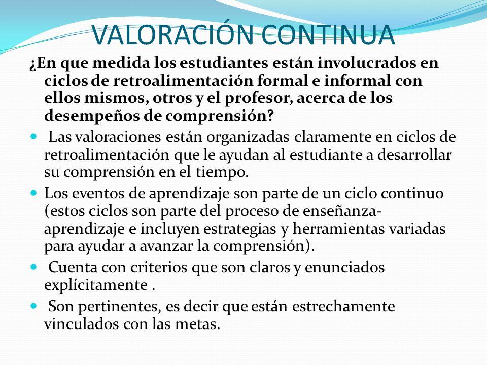 VALORACIÓN CONTINUA