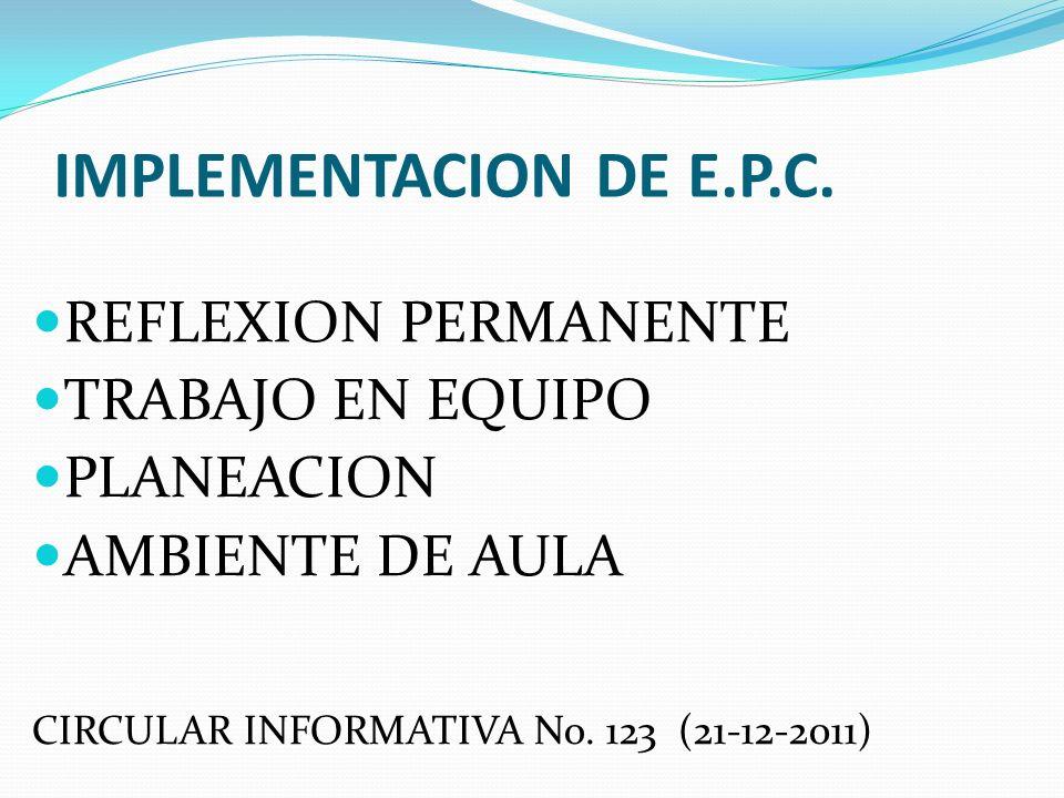 IMPLEMENTACION DE E.P.C. REFLEXION PERMANENTE TRABAJO EN EQUIPO