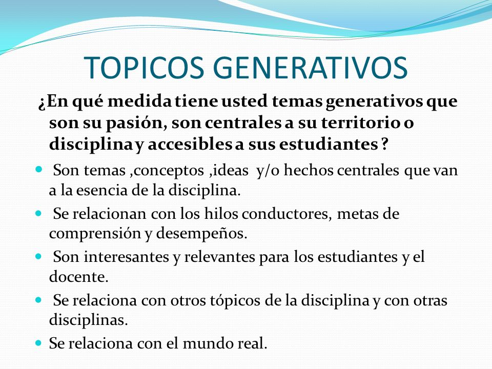 TOPICOS GENERATIVOS