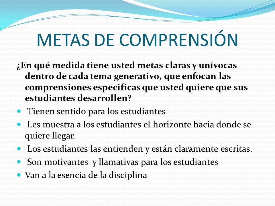 METAS DE COMPRENSIÓN