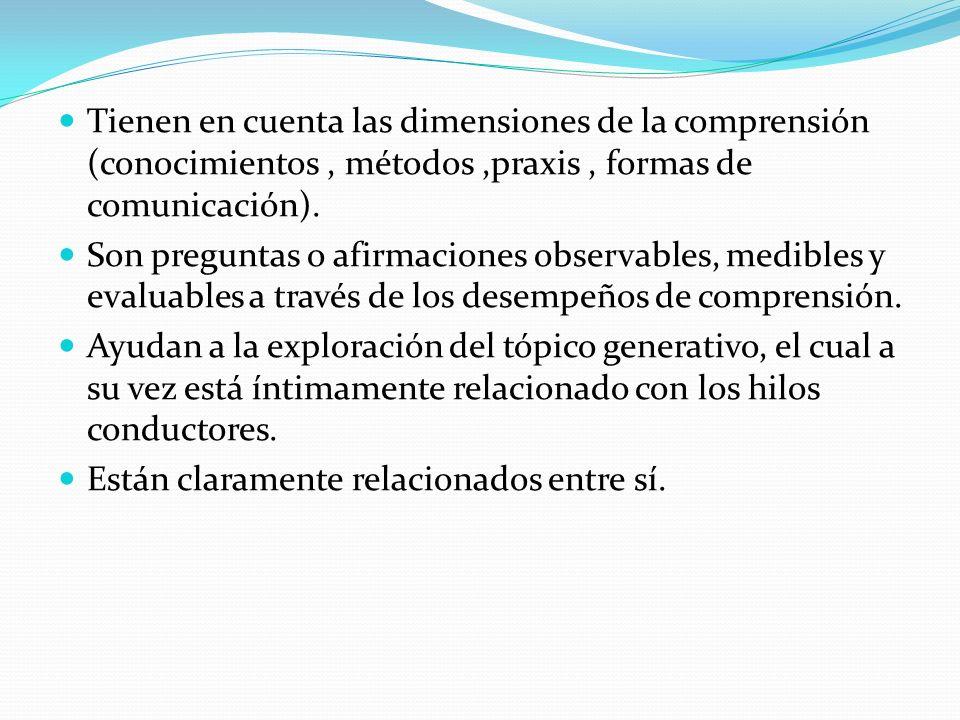Tienen en cuenta las dimensiones de la comprensión (conocimientos , métodos ,praxis , formas de comunicación).