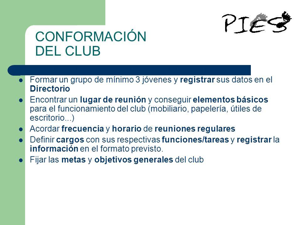 CONFORMACIÓN DEL CLUB Para crear un club se deben dar los siguientes pasos: